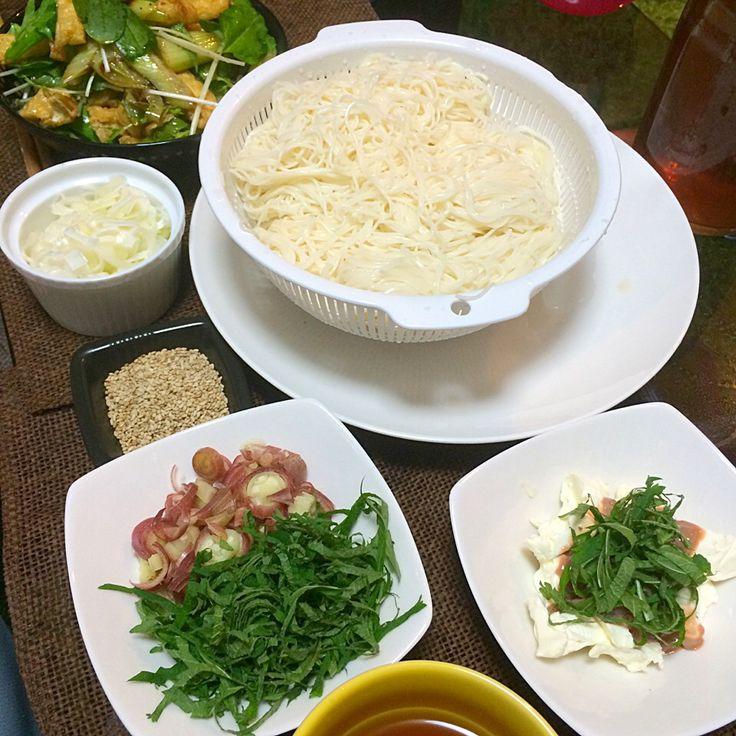 薬味たっぷりそうめん、クリームチーズ塩辛、長ネギとおあげの水菜サラダ