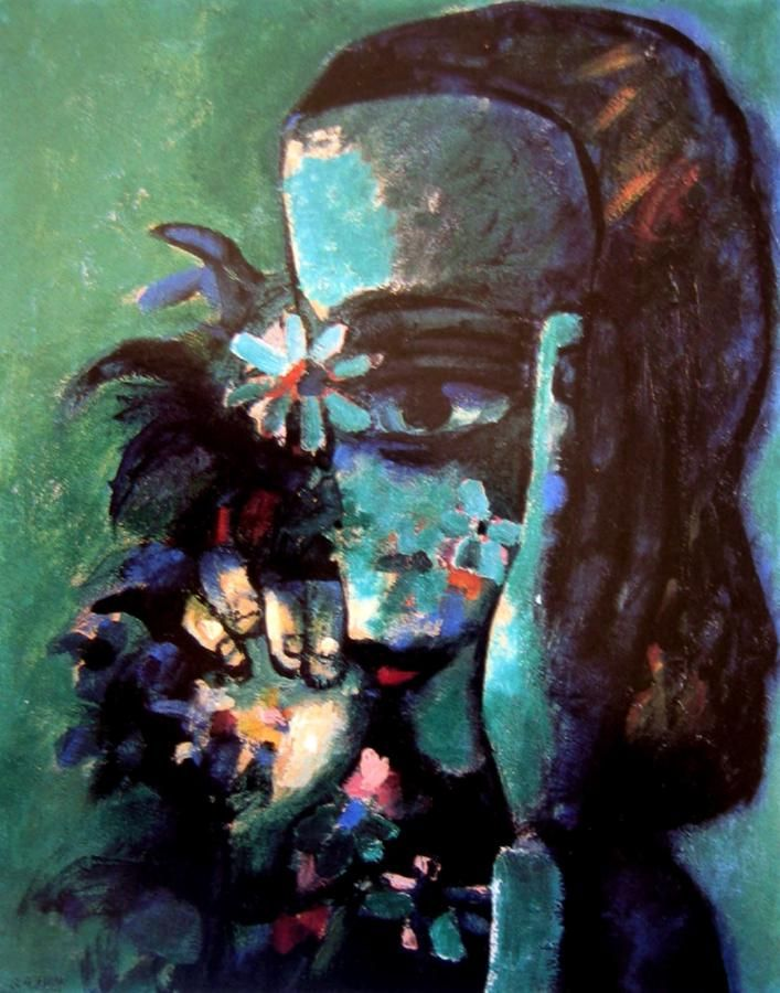 Charles Blackman ~ Face on Flowers (Green Flowers)