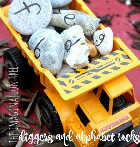 Diggers and alphabet rocks literacy play for preschoolers