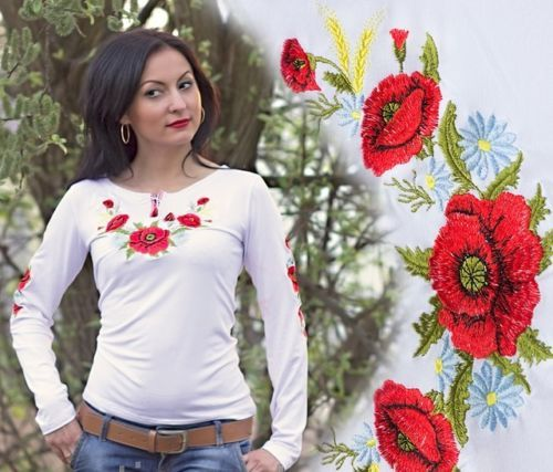 This beautiful feminine garment is decorated with bright and colorful floral embroidery on bust and sleeves. A welcome combination of vibrant poppies and snow-white chamomiles creates a romantic and playful look. The neckline finished with tassels and embroidered pattern adds to the beauty of the item.   @Ethnic_fantasy vyshyvanka