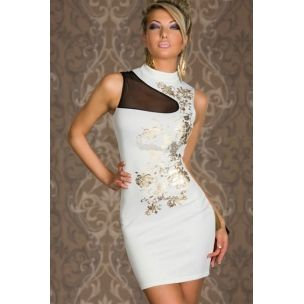 Beyaz Mini  ElbiseClub Dresses, Bodycon Dresses, Floral Prints, Fashion Dresses, Prints Bodycon, Flower Prints, White, Foil Prints, Floral Foil