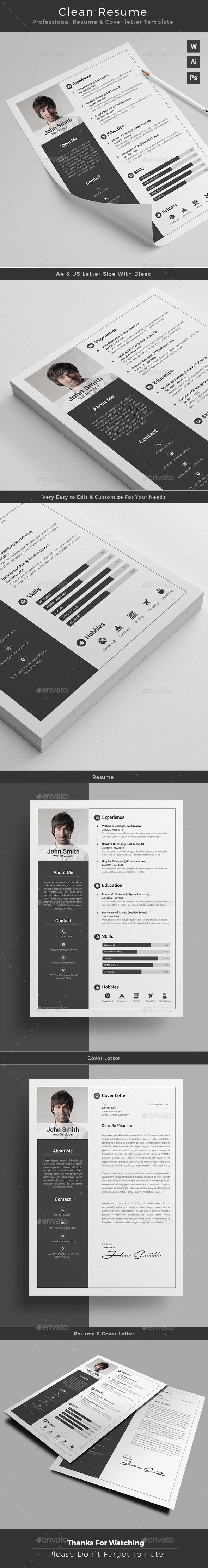 #CleanResumeDesign + Free cover letter template | Instant Download  https://graphicriver.net/item/resume/17447049?ref=themedevisers