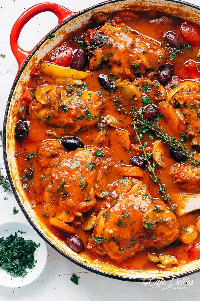 Slow cooked Chicken Cacciatore, with chicken falling off the bone in a rich and…