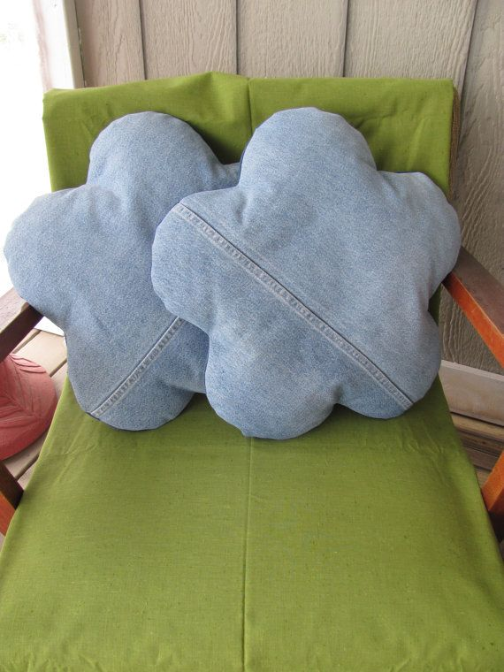 pair recycled denim flower pillows upcycled jeans by TJPhillips991, $40.00