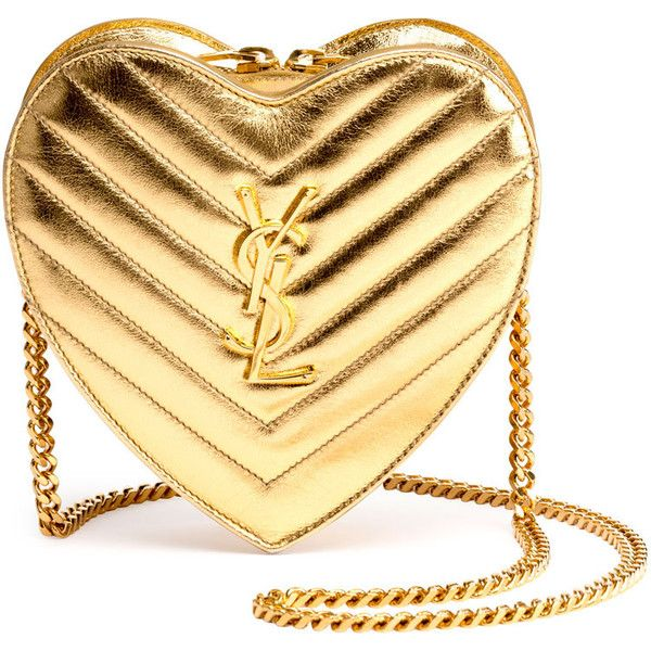 Saint Laurent Monogram Small Love Crossbody Bag ($1,250) ❤ liked on Polyvore featuring bags, handbags, shoulder bags, gold, chevron crossbody purse, shoulder handbags, metallic purse, chevron purses and monogrammed crossbody