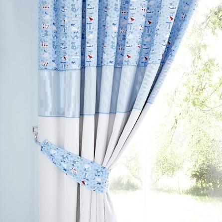 Kids Blue Nautical Nursery Blackout Pencil Pleat Curtains | Dunelm