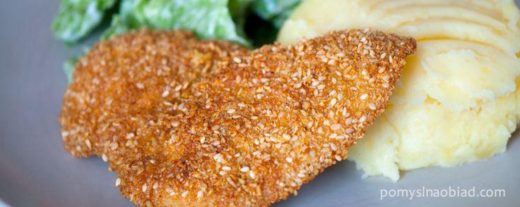 pierś z kurczaka w otrębach i sezamie