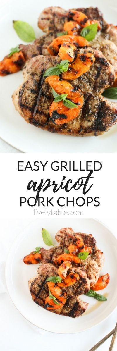 With just 6 ingredients and all cooked on the grill, these easy grilled apricot pork chops make a healthy and delicious summer dinner for any weeknight! (gluten-free, dairy-free) | via livelytable.com