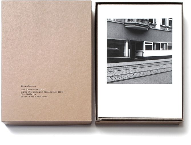 Gerry Johansson   Deutschland Special Edition    Four different images, each in an edition of 25.    A silver gelatin print (24 x 17.4 cm) hand-made by Gerry Johansson and a first edition copy of Deutschland, both signed and numbered. Housed together in an elegant stamped portfolio box.
