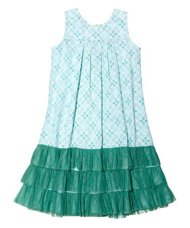 Look what I found on #zulily! Turquoise & Green Ruffle Dress - Toddler & girls by Masala Baby #zulilyfinds