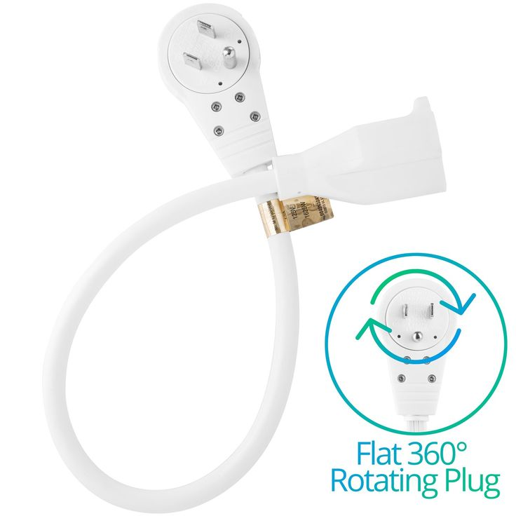 Maximm Cable 3 Feet 360° Rotating Flat Plug Extension Cord / Wire, 3 Prong Grounded Wire 16 Awg Power Cord - White