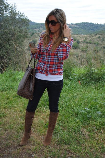 Look: Plaid shirt...on the mountain - Mónica Mes Voyages à Paris - Trendtation