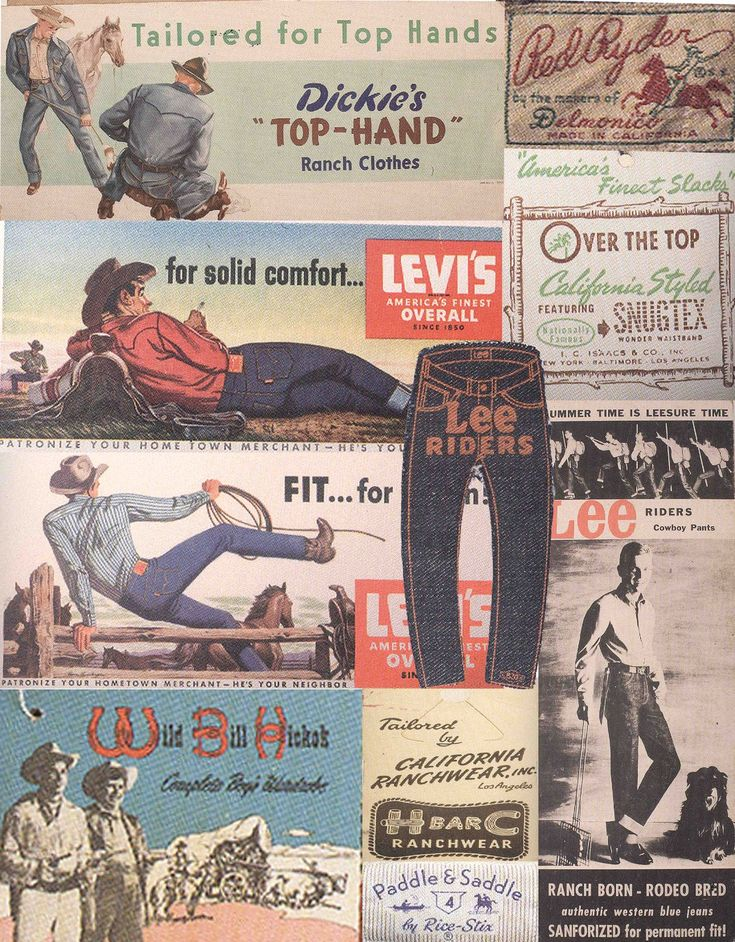 vintage western wear labels and graphics
