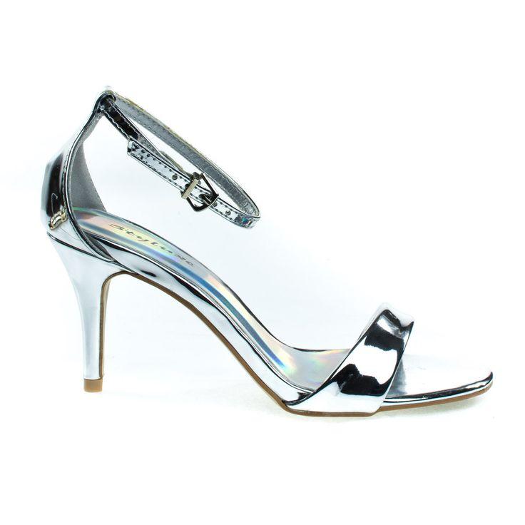 Marc Silver by Styluxe, Low Heel Open Toe Dress Sandal, Closed Back Adjustable Ankle Strap