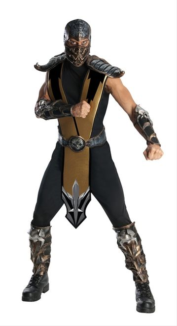 Men's Scorpion Halloween Costume - This is an officially licensed Scorpion costume from Mortal Kombat. This five-piece costume comes with a jumpsuit, shin guards, gauntlets, belt and a mask. The jumpsuit opens up from the neckline and is sleeveless. It has an attached tabard with foam lining and moulded foam shoulder guards. The shin guards and cuffs are also moulded foam with skull designs and attach with Velcro and elastic. #mortalkombat #videogames #yyc #costume