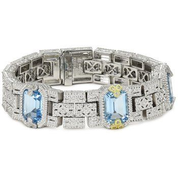 "Judith Ripka ""Estate"" Topaz, Sapphire Bracelet sets in Gold and Silver"