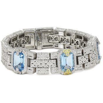 "Judith Ripka ""Estate"" Topaz, Sapphire Bracelet sets in Gold and Silver"