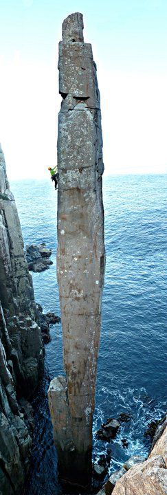 The Totem Pole, Tasmania. Look at that climber.