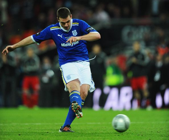 Anthony Gerrard of Cardiff City misses the decisive penalty in the shoot out during the Carling Cup Final match between Liverpool and Cardiff City at Wembley Stadium on February 26, 2012 in London, England.