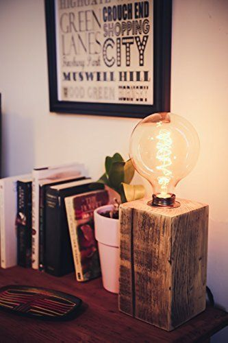Large Chunky Table Lamp Handmade from Reclaimed Wood with Vintage Bulb