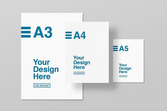 A3 A4 And A5 Mockups Paper Mockup Paper Size Paper