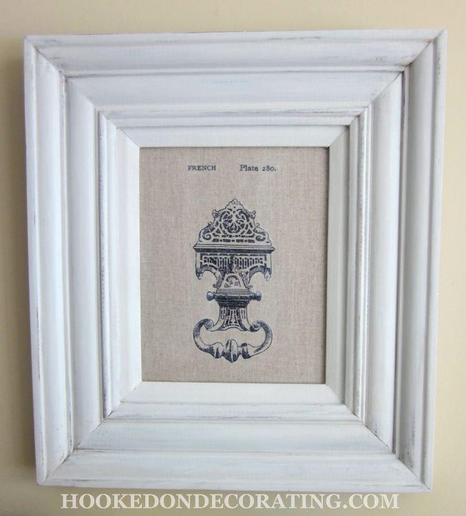 Cadre repeint avec peinture grise gesso pour aspect peinture la craie peinture et - Peinture a la craie pour meuble ...