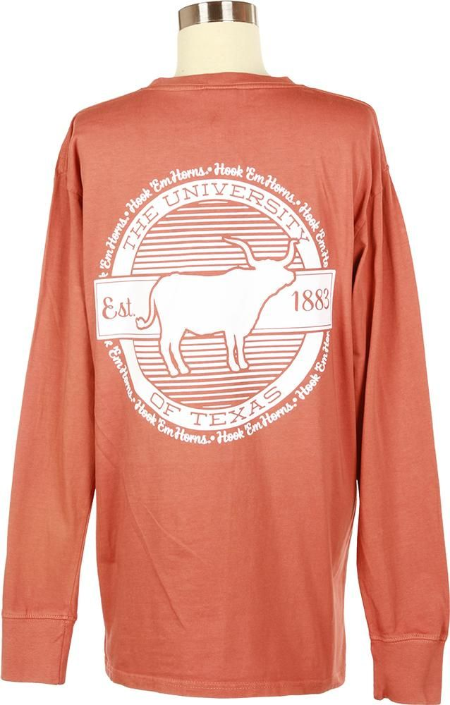 Put your Longhorn spirit on display with this long-sleeved Hook 'em Horns t-shirt, featuring a Cutout Bevo 'University of Texas' circle design on the back!