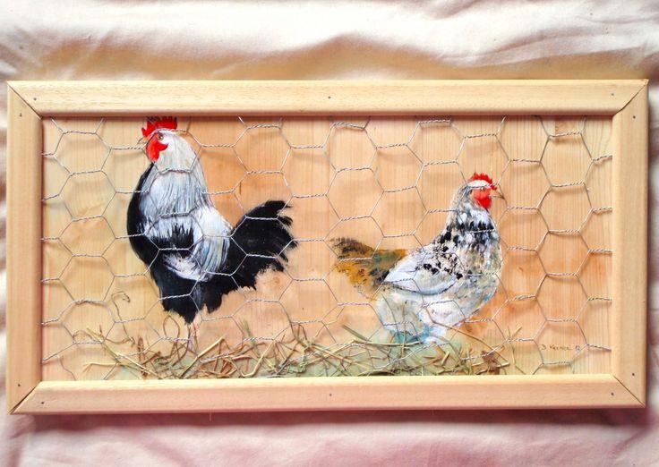 Peintures peinture sur bois avec une poule peinture sur for Peinture cerusee sur bois