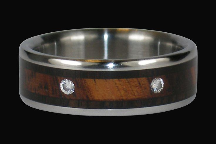 Diamond Titanium Ring for Men and Women with Exotic Wood Reasonable Wedding Band. $632.50, via Etsy.