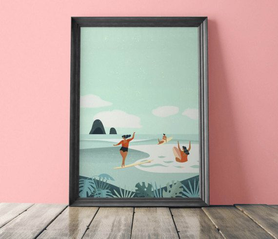 Weligama bay surf retro poster. Digital Download от FunkyPrintShop