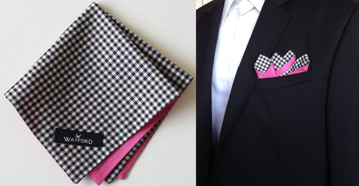 Polyester Black & White Gingham with pink lining - Pocket Square (Double-sided)