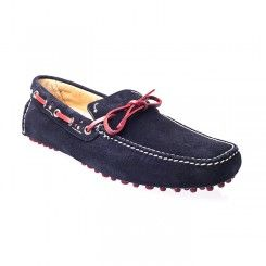 Shop! Car Shoes Suede Driving Shoes Navy.A suede classic driving moccasin. Coloured calf leather bow with contrasting coloured rubber studded sole having tubular construction.Visit here http://www.ashtonmarks.com/car-shoes-suede-driving-shoes-navy
