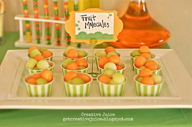 {science party} FOOD and DESSERT ideas - Creative Juice, DNA pasta, double-helix cheese sticks