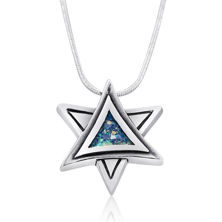 Rafael Jewelry Roman Glass Silver Star of David Necklace, Jewish Jewelry   Judaica Web Store