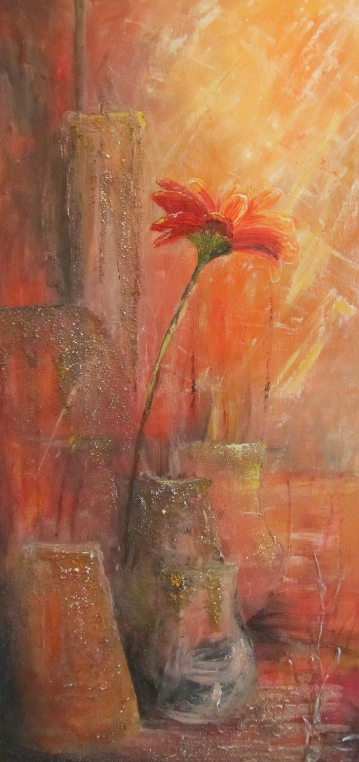 Gerberra...an example of an abstract realism painting where the textual pots merge with the background but the flower gives a clue to interpreting the picture.