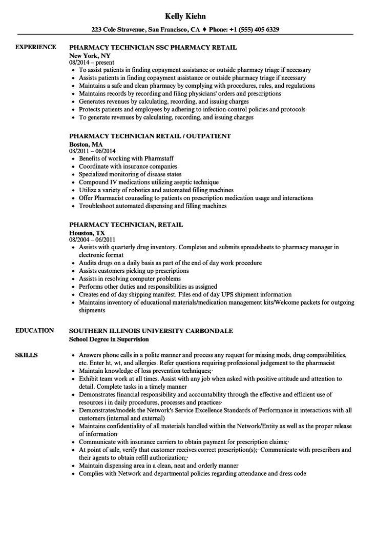 Resume for pharmacy tech more retail pharmacy technician