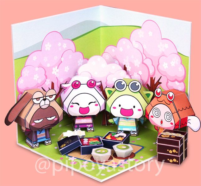 Picnic under the Hanami season paper diorama by DecoDeco PiPoYa. Papertoy PiPoYa cute Gift and craft