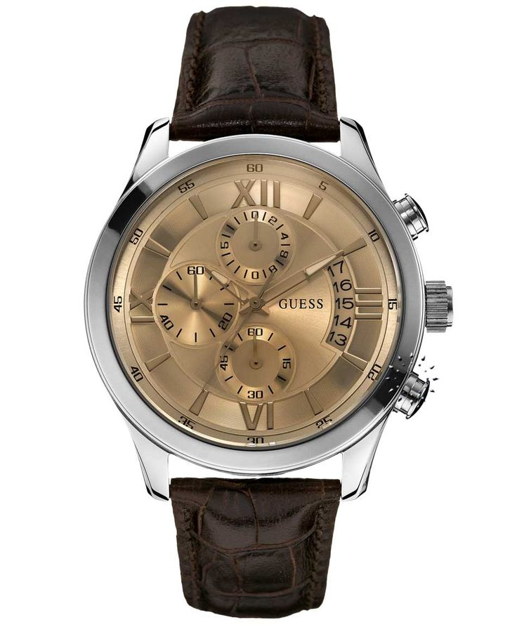 GUESS Brown Leather Strap Chronograph Η τιμή μας: 169€ http://www.oroloi.gr/product_info.php?products_id=33434