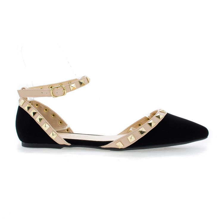 Pippa109 D'Orsay Pyramid Studded Ankle Buckle Cuff Trendy Flats