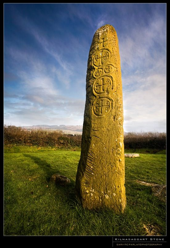 Kilnasaggart Stone, County Armagh, Ireland ~ On the stone an Old Irish inscription is translated as 'this place, bequeathed by Ternoc, son of Cernan the Little under the patronage of Peter the Apostle'. He died around 714 - 716, so the stone was erected in the early 700's CE, making it the earliest datable stone monument in Ireland. It is decorated with ten crosses & excavations in 1966 & 1968 uncovered a number of stone-built & dug graves nearby. Photographer Gary McFarland  #Celt #mytumblr