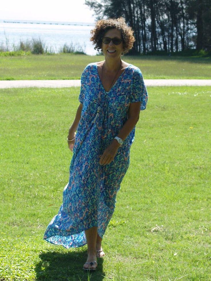 NWT Kaftan Grecian Fall Maxi Dress Ikat Print Plus Size fit from 12-16 & 18-22