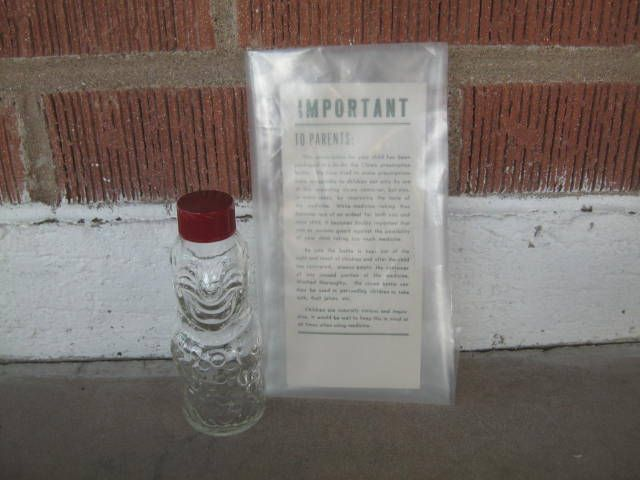 vintage BoBo the clown bottle with red Bakelite cap -1950's children's medicine bottle with original instructions to parents - NOS (2 of 2) by LyonsVintageBySuzy on Etsy