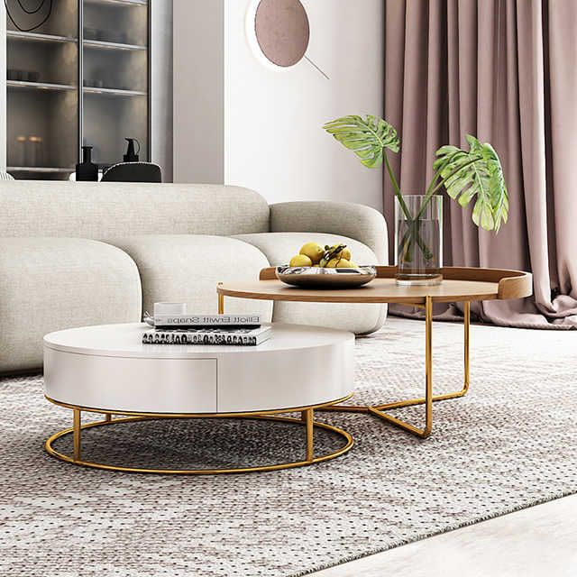 Source Luxury White Movable Tv Cabinet And Round Side Table Combination Nordic Minimal In 2020 Center Table Living Room Living Room Coffee Table Minimalist Living Room #round #living #room #side #tables