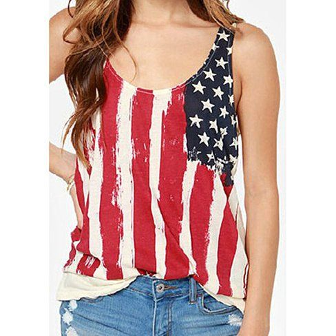 Show your American pride with this awesome loose fitting sleeveless tee with gathered V shirred back. The USA flag style with vertical lines is slimming and flattering on everyone. Perfect for your July 4th BBQ!