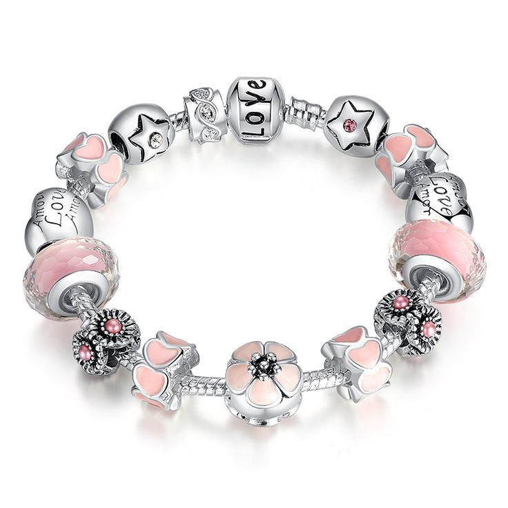 "Aliexpress 925 Silver Flower Heart Start ""LOVE"" Warm Pink Girl Murano Beads Bracelet for Year A1872"