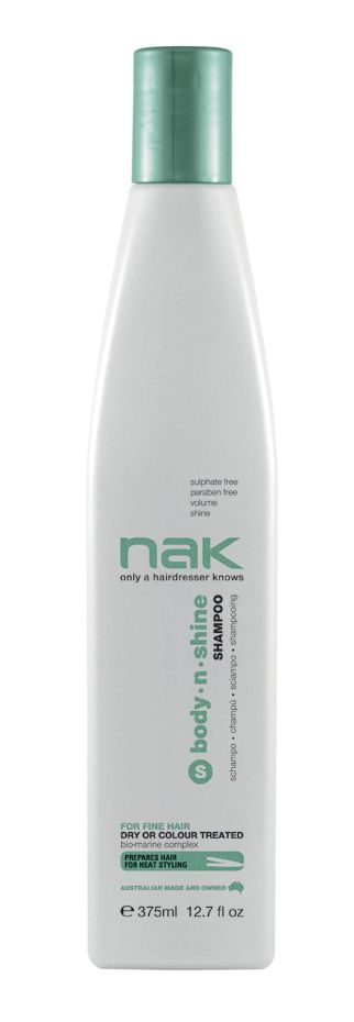 nak body.n.shine shampoo / designed for fine hair - dry or colour treated #sulphatefree #parabenfree #volume #shine
