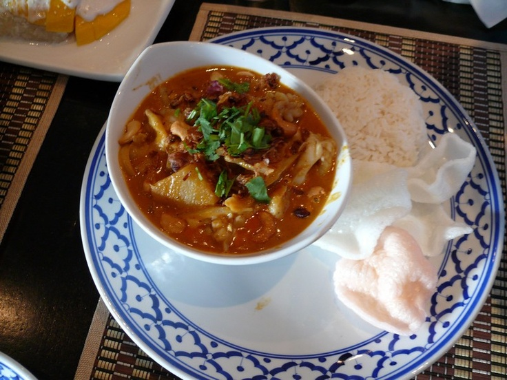 Sticky Rice Thai Cuisine's Famous Massaman Curry : Thailand's Massaman Curry voted #1 in world's most delicious foods poll by CNNGo.com : mix of many flavours and seafood all at once, leaving you craving more. Served with shrimp cakes.