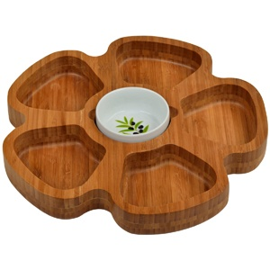 This unique flower-shaped bamboo serving tray has five petal-shaped divided sections you can fill with whatever finger foods you want! In the center of the flower sits a ceramic bowl bearing a pretty olive motif. The tray makes a lovely decorative piece when set up for display, and a practical yet beautiful serving tray at your next food and wine party. It's perfect as a fancy vegetable tray, each petal holding a different crudite, with your choice of dip in the bowl in the center. $46.75