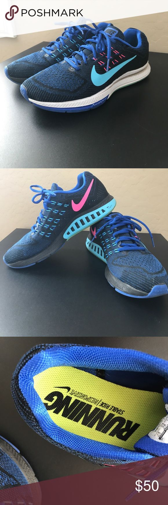 Nike Zoom Structure 18 Great condition Nike Zoom Structure 18. Blue teal and pink! Extremely comfortable nike Shoes Athletic Shoes