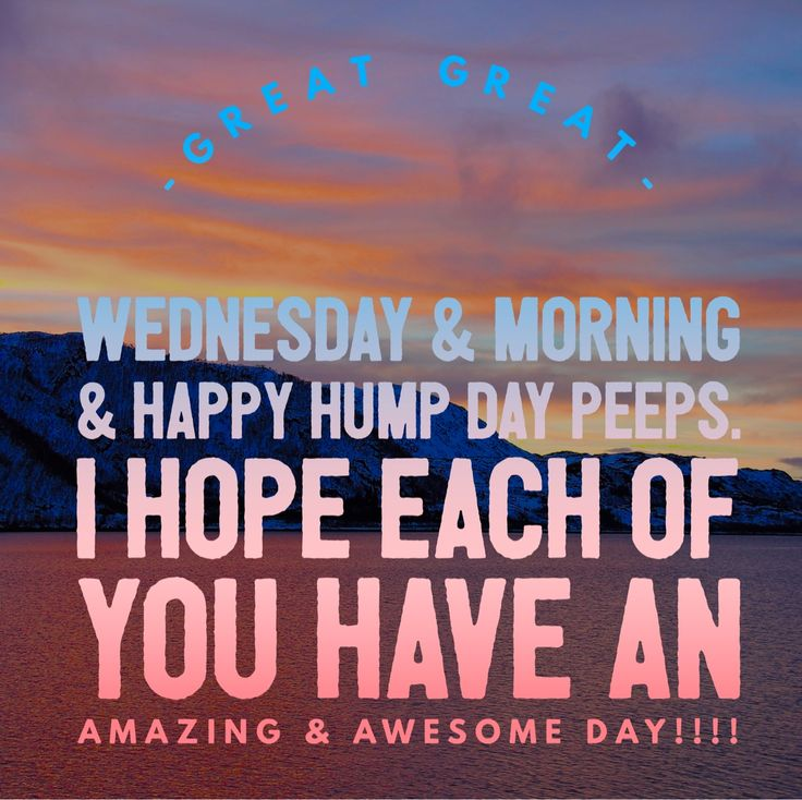 Great Great Wednesday & Morning & Happy Hump Day Peeps. I